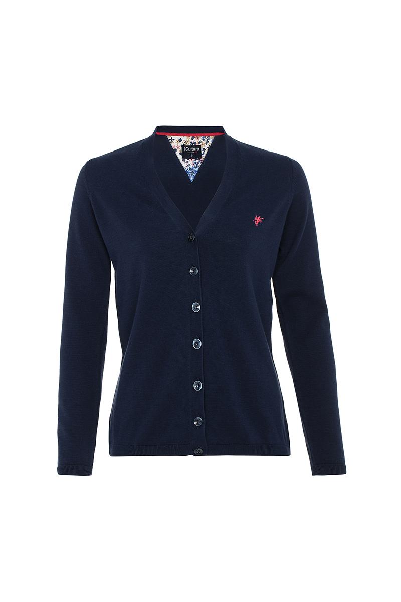 Women's Cardigan Button V-neck Navy