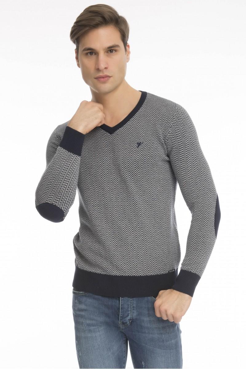 Baumwoll Pullover mit Ellenbogen-Patch V-Ausschnitt NAVY für Herren