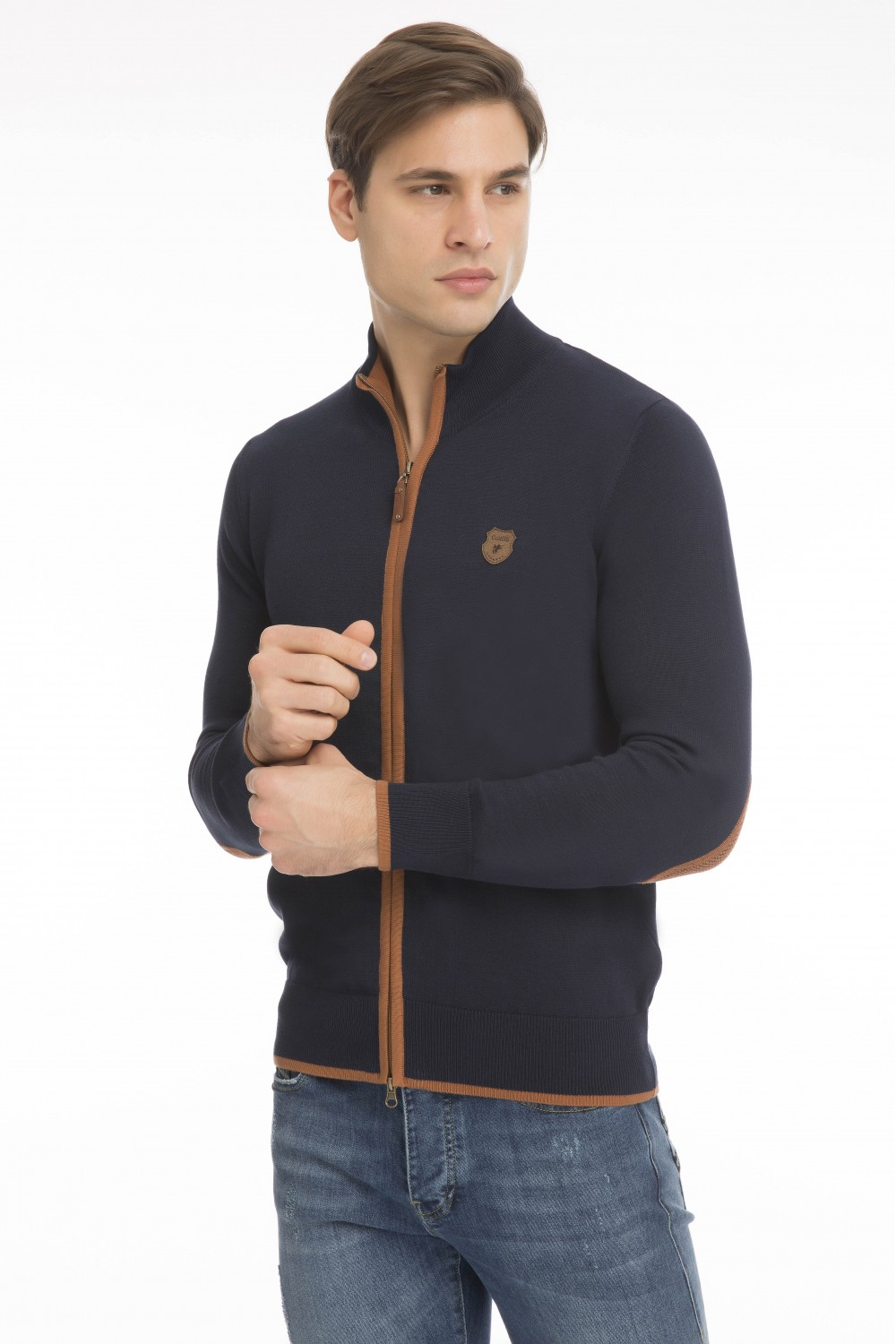 Men's Cardigan Zip Knit Collar Navy