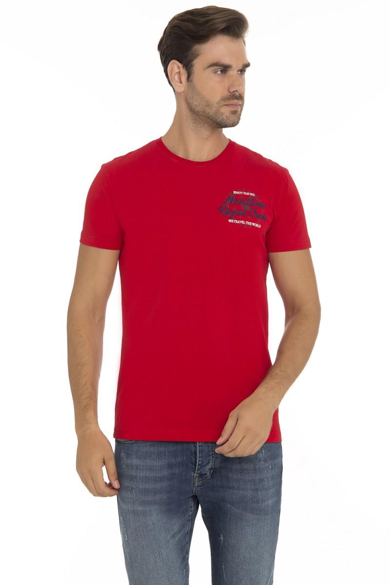 Herren T-Shirt Rundhals ROT Baumwoll