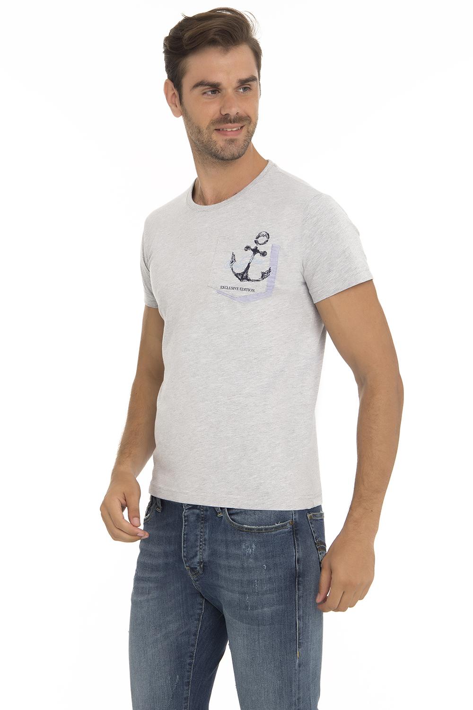 Herren T-Shirt Rundhals GRAU MEL. Baumwoll