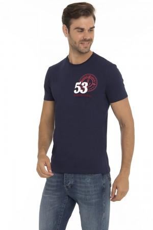 Herren T-Shirt Rundhals NAVY Baumwoll
