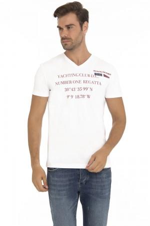 Herren T-Shirt Rundhals WEISS Baumwoll