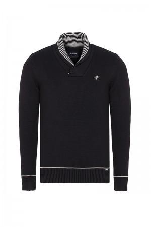 Men's Pullover  Shawl Collar Black Cotton