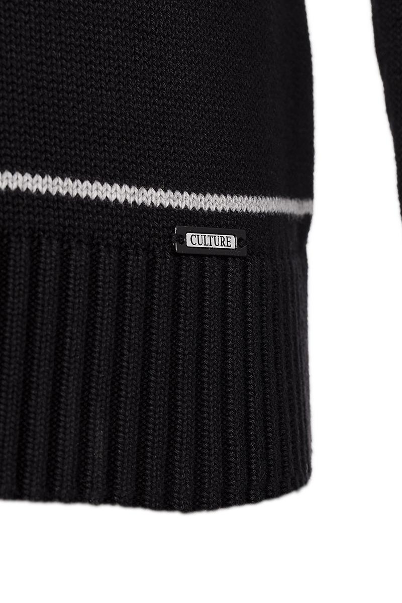 Baumwoll Pullover mit V-Ausschnitt Schalkragen BLACK für Herren