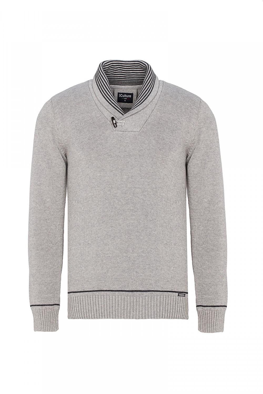 Baumwoll Pullover mit V-Ausschnitt Schalkragen GRAU MEL. für Herren