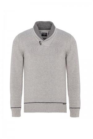 Men's Pullover  Shawl Collar Heather Gray Cotton