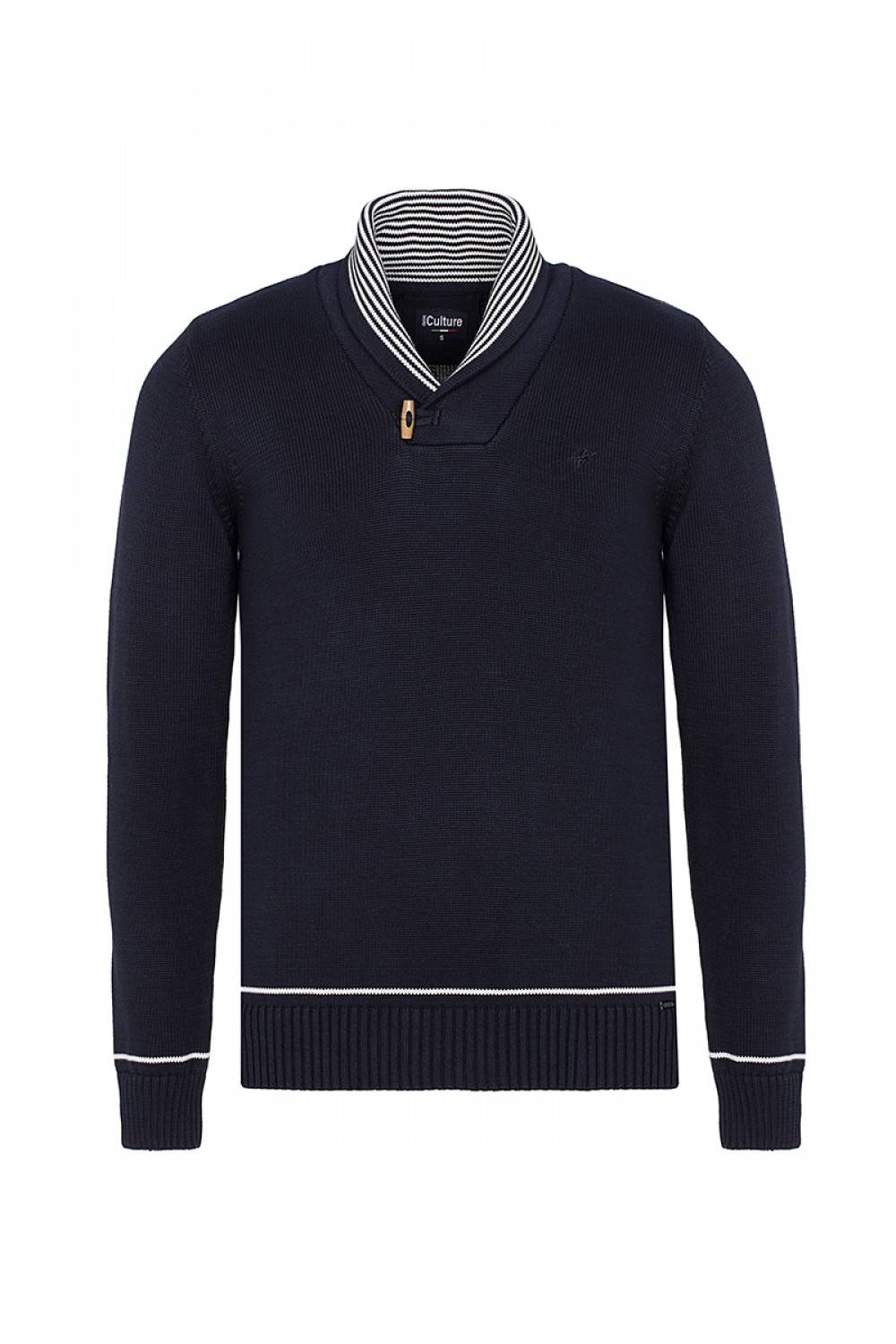 Men's Pullover  Shawl Collar Navy Cotton