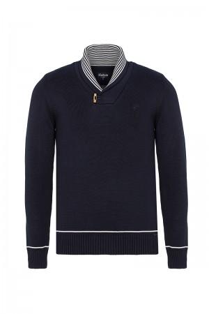 Men's Pullover  Shawl Collar Navy Cotton