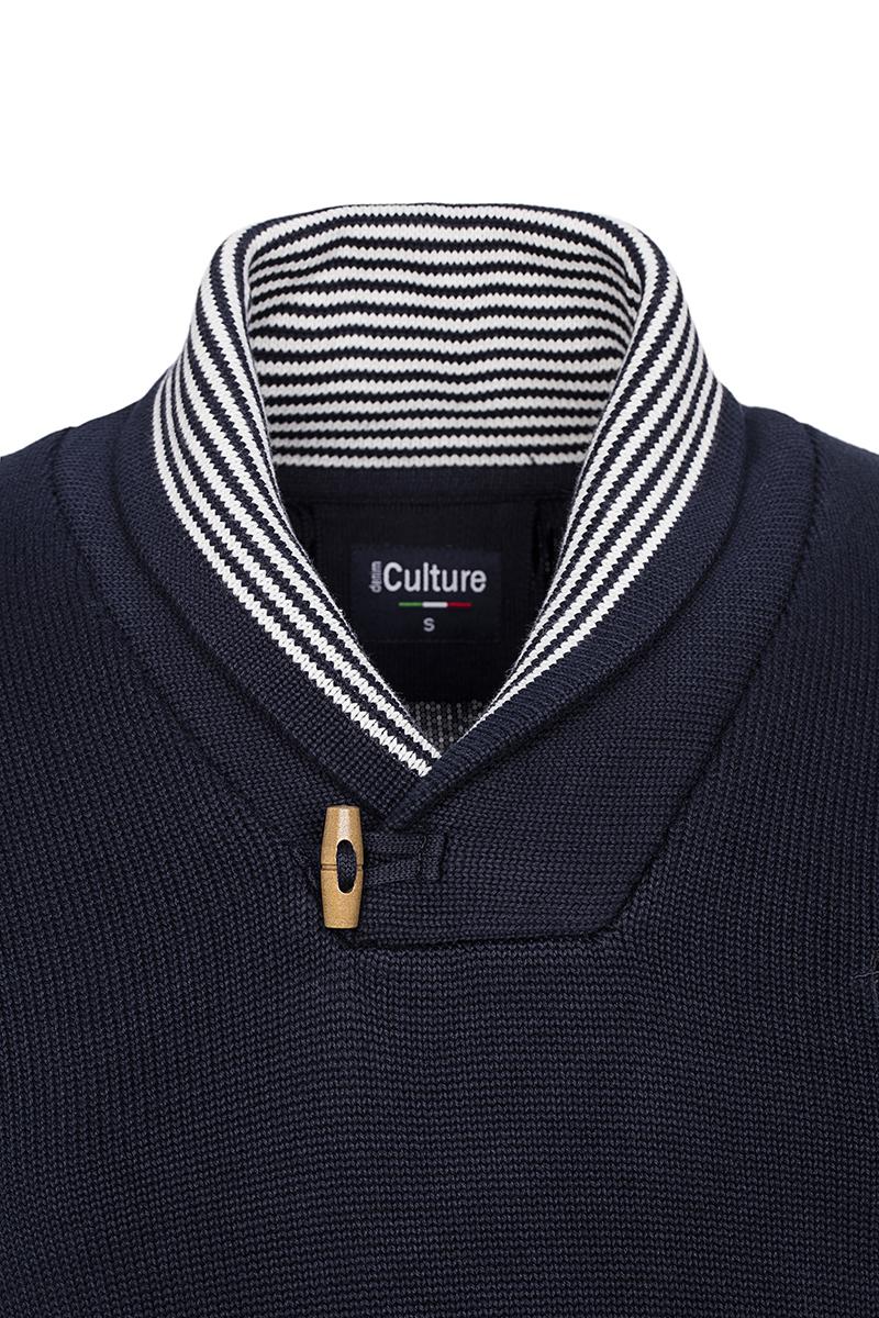 Baumwoll Pullover mit V-Ausschnitt Schalkragen NAVY für Herren