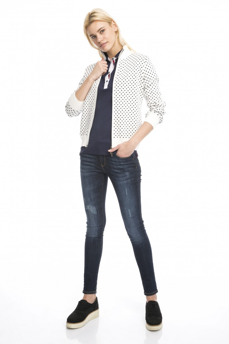 Damen Strickjacke mit  Reißverschluss Strickkragen ECRU
