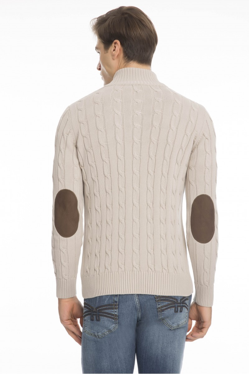 Men's Cardigan Zip Knit Collar Heather Beige