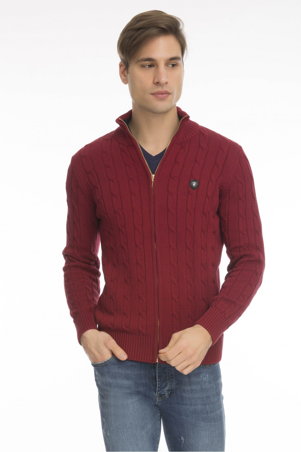Men's Cardigan Zip Knit Collar Bordeaux