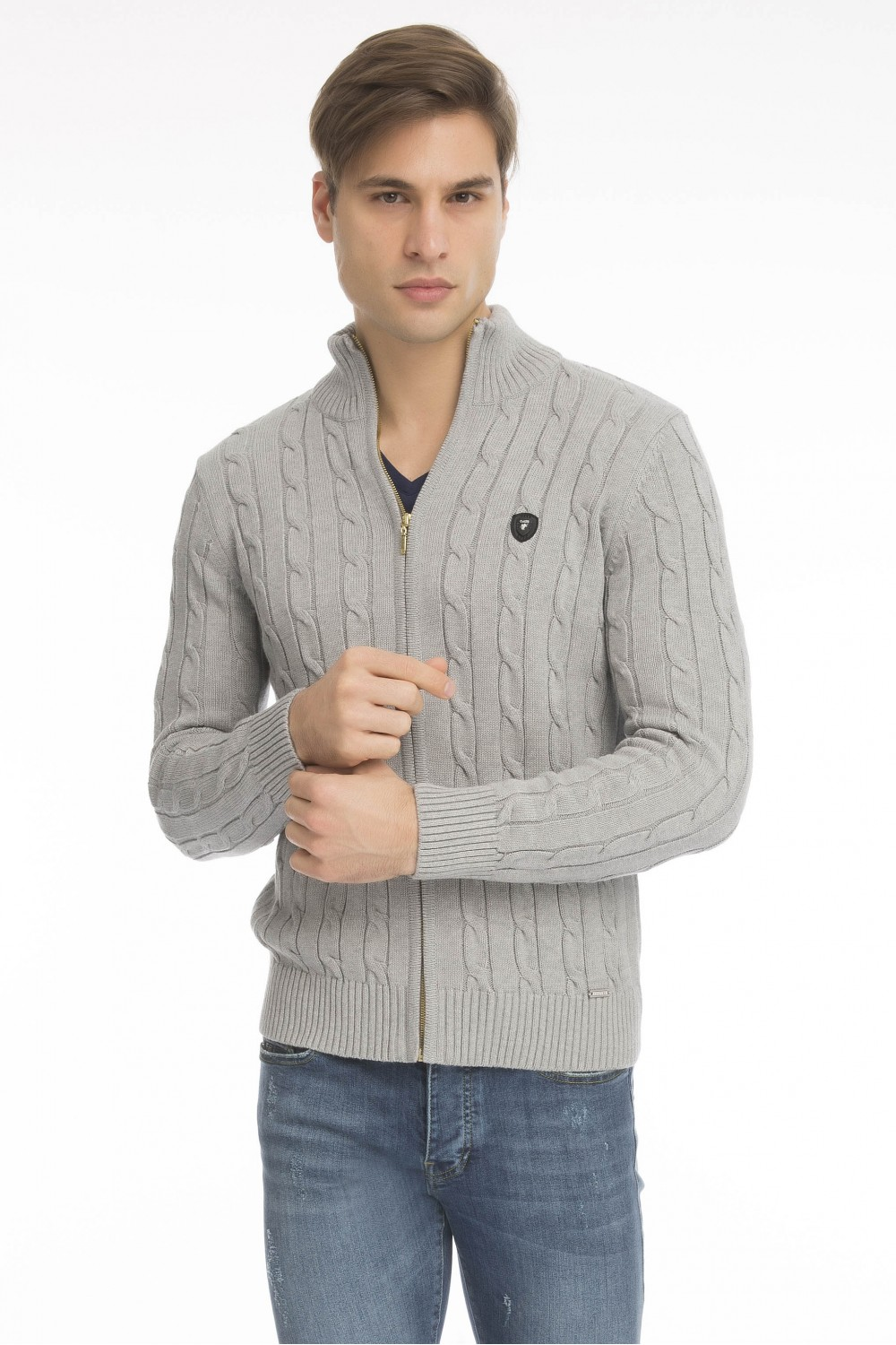 Men's Cardigan Zip Knit Collar Heather Gray
