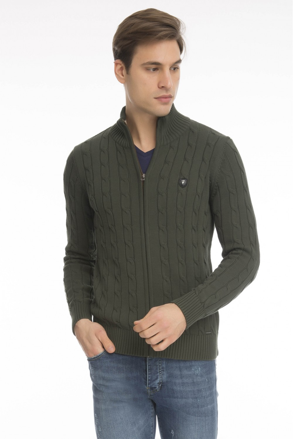 Men's Cardigan Zip Knit Collar Khaki