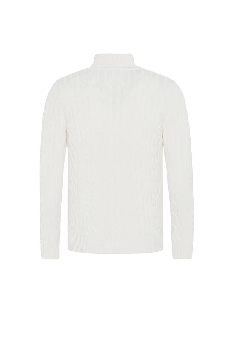 Baumwoll Pullover mit V-Ausschnitt Schalkragen ECRU für Herren