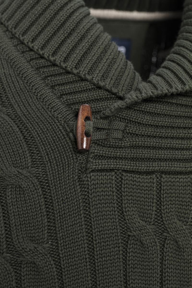 Baumwoll Pullover mit V-Ausschnitt Schalkragen KHAKI für Herren