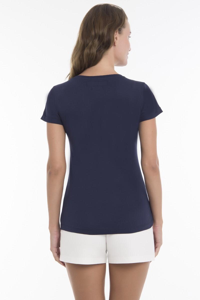 Damen T-Shirt Rundhals NAVY Baumwoll