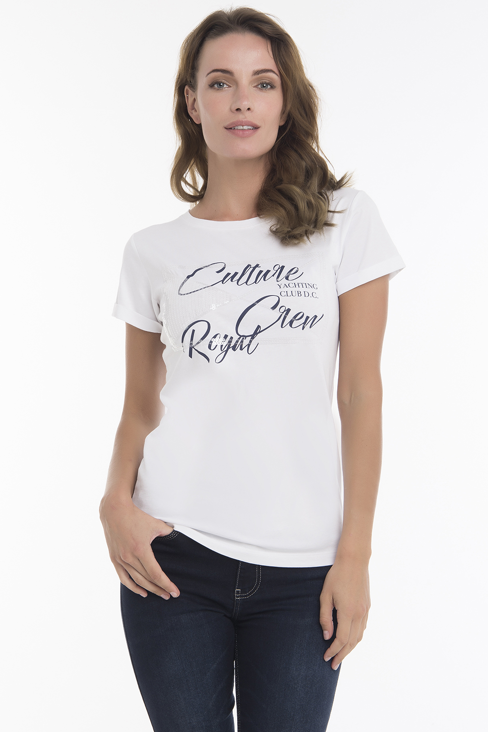Women's T-Shirt Crew Neck White Cotton