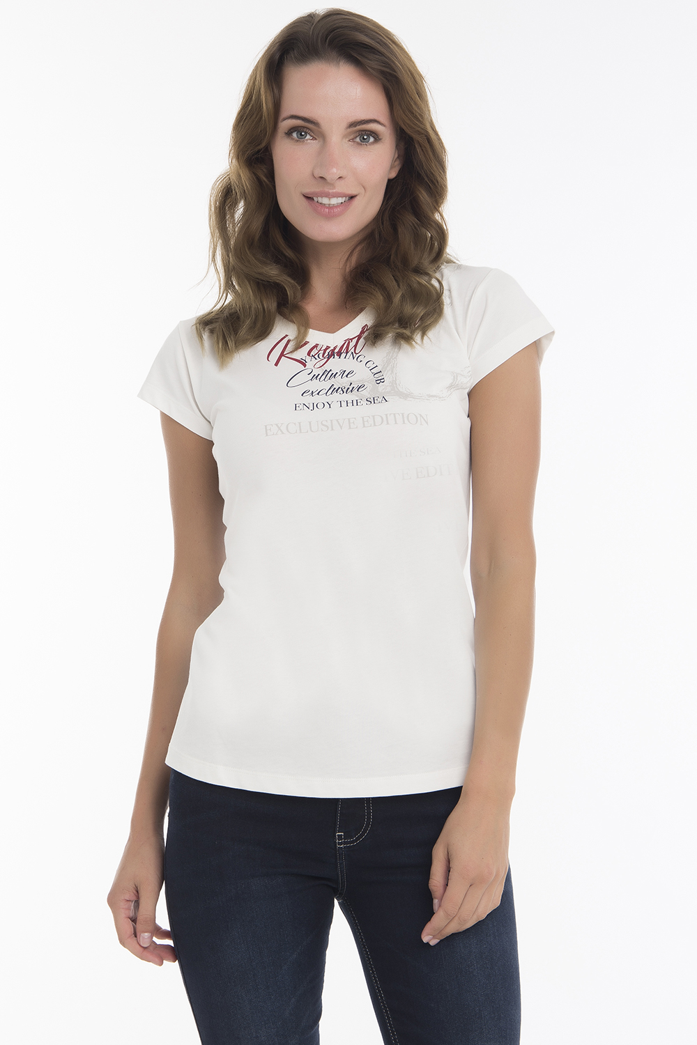 Women's T-Shirt V-neck Ecru Cotton