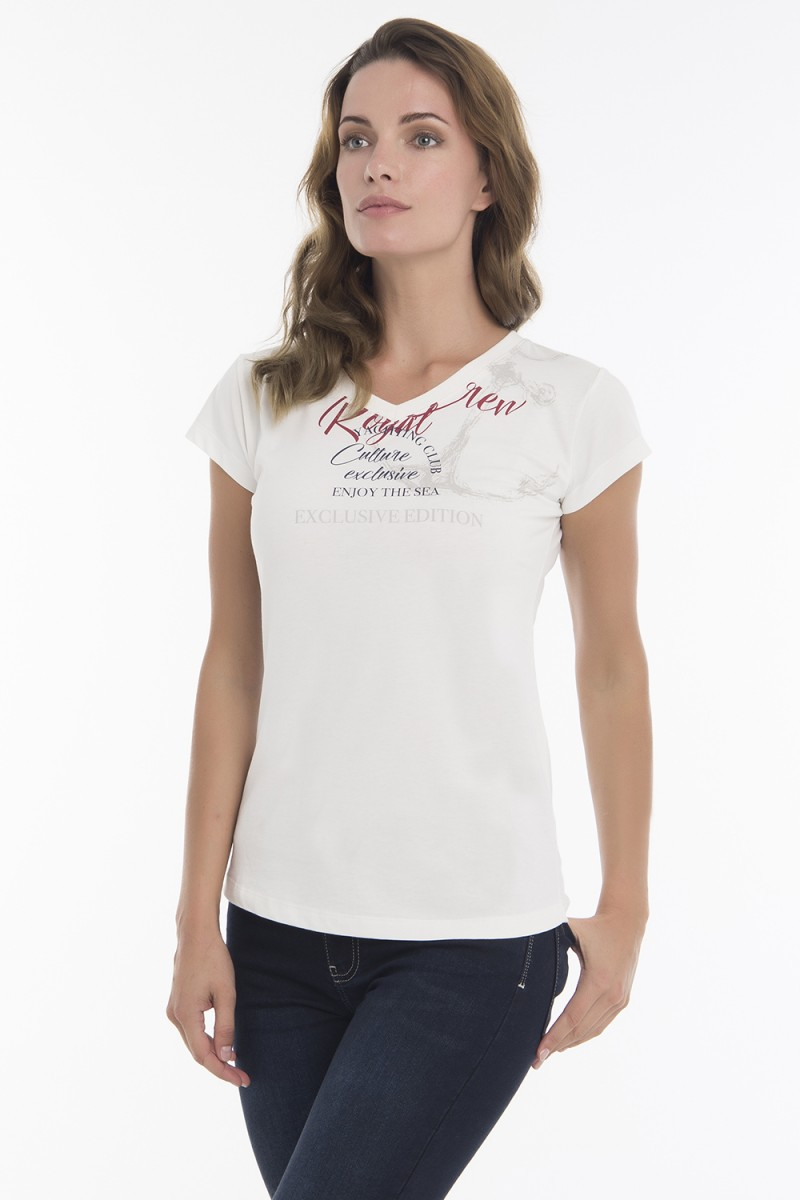 Women's T-Shirt V-neck Ecru Cotton