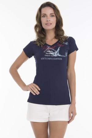 Damen T-Shirt V-Ausschnitt NAVY Baumwoll