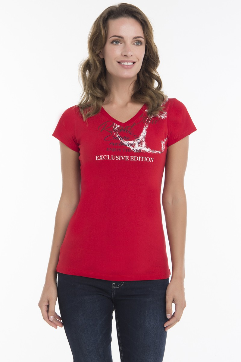 Damen T-Shirt V-Ausschnitt ROT Baumwoll