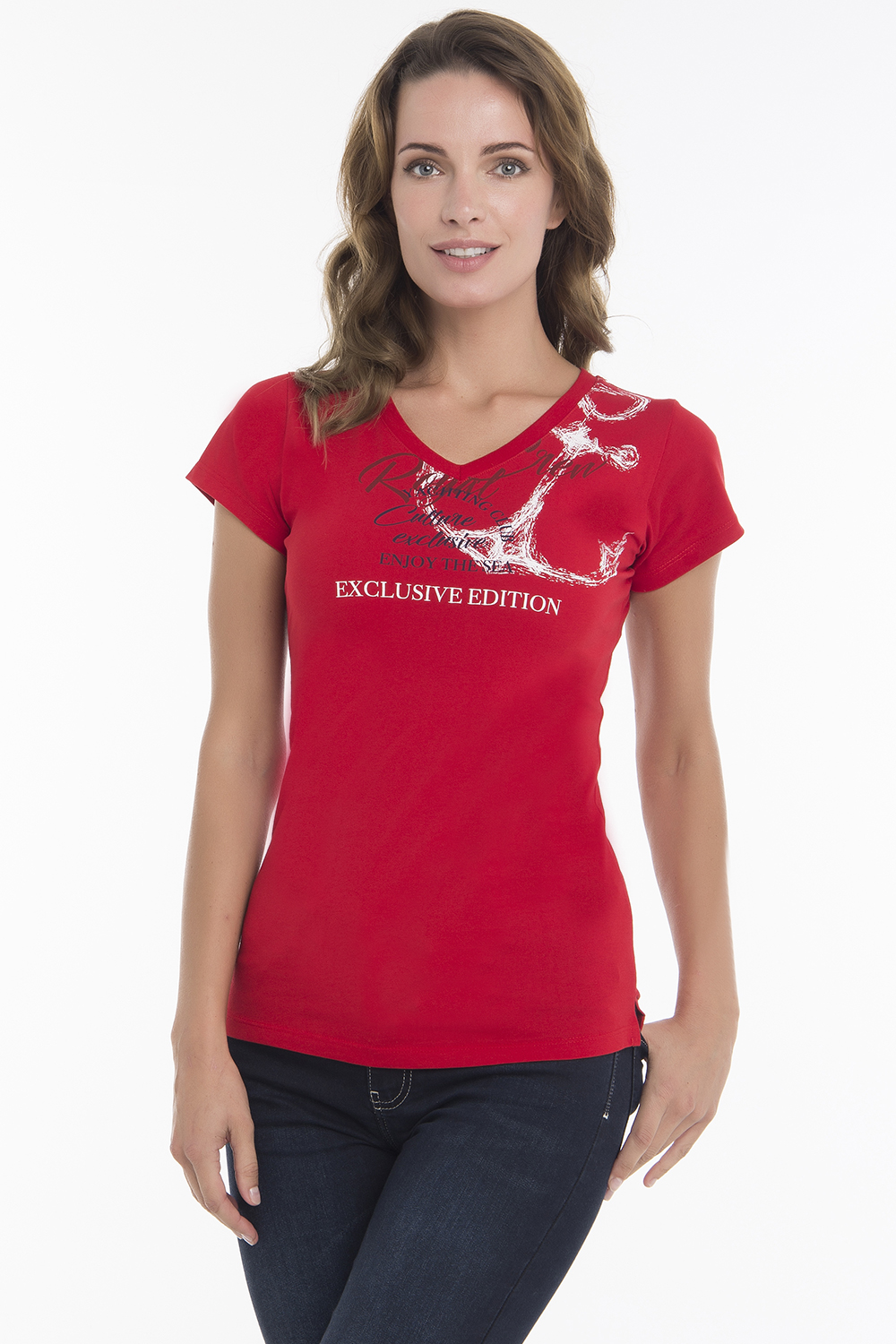 Women's T-Shirt V-neck Red Cotton