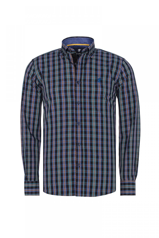 Men's Shirt Button Down Royal Checked