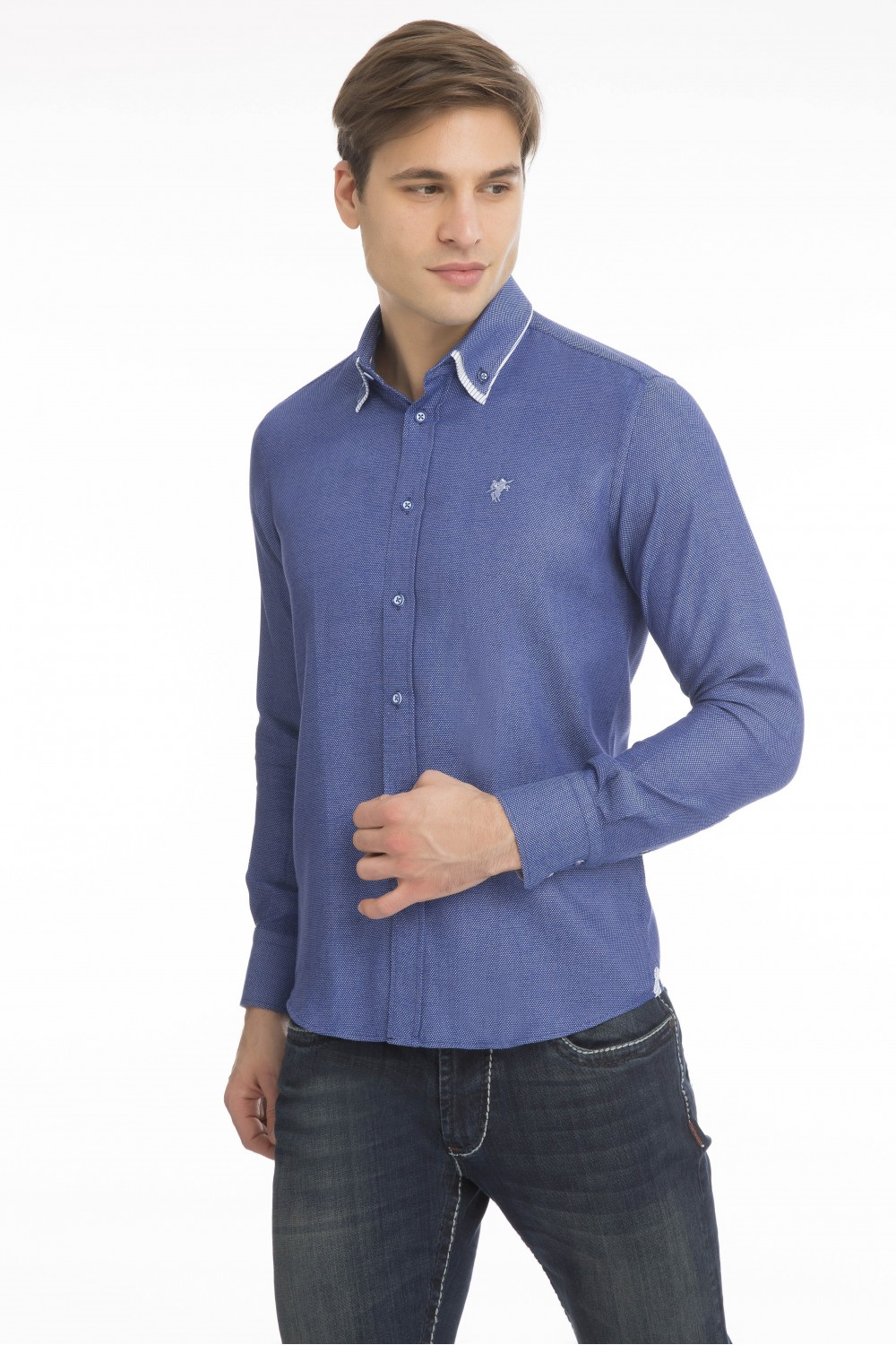 Men's Shirt Double Collar Royal