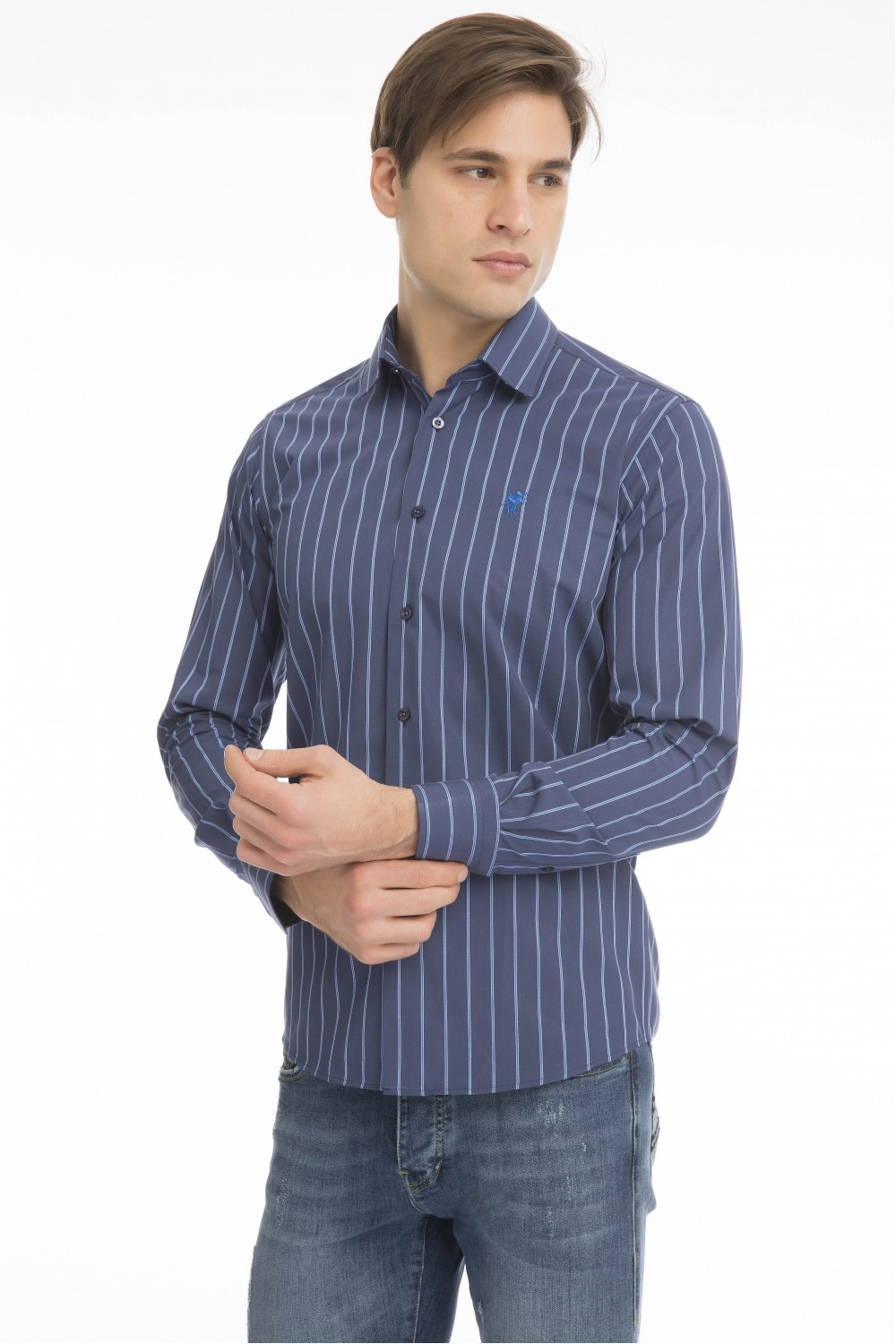 Men's Shirt Kent Collar Royal Striped