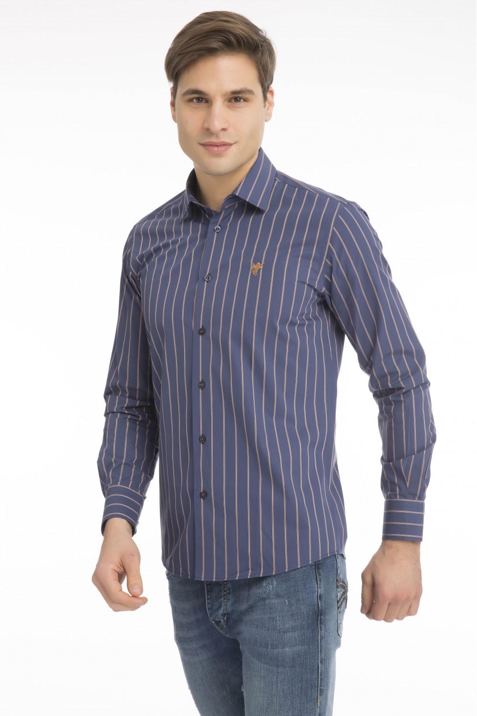 Men's Shirt Kent Collar Mustard Striped