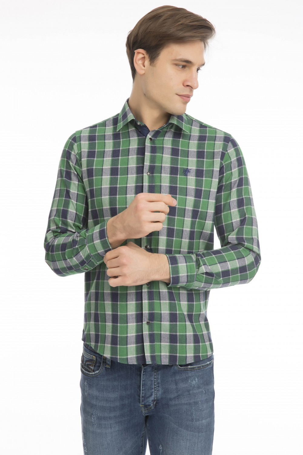 Men's Shirt Kent Collar Green Checked