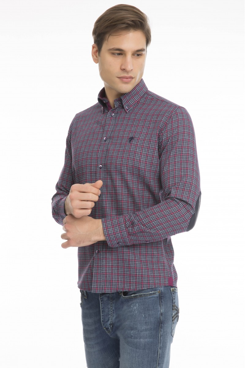 Herren Hemd mit Kariert Button Down FUSHIA