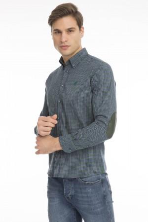 Men's Shirt Button Down Green Checked