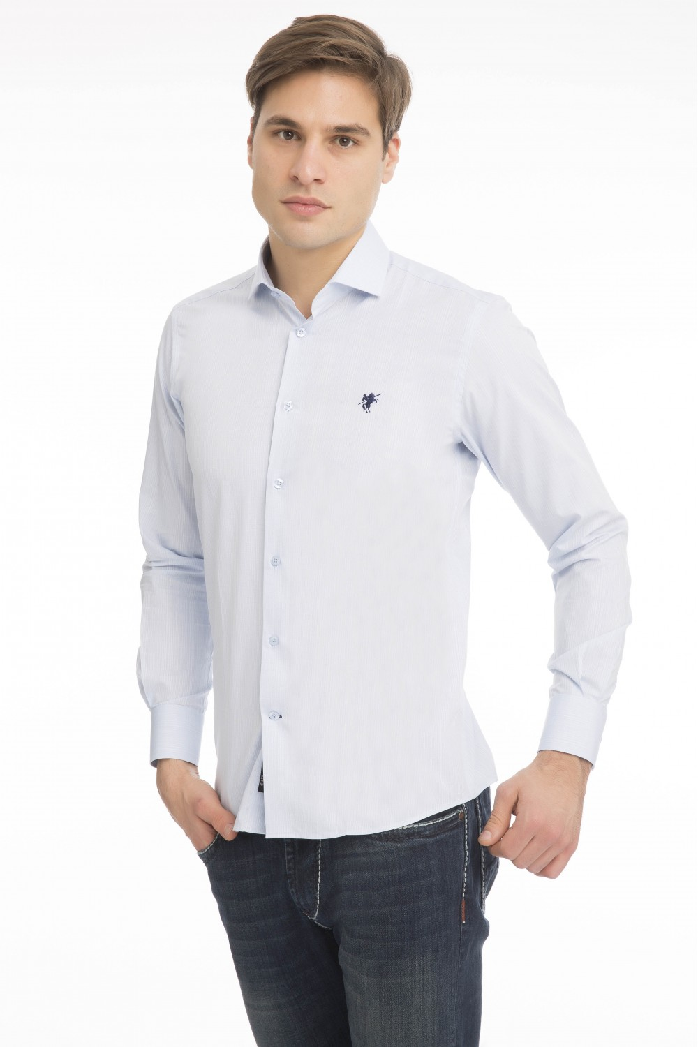 Men's Shirt Kent Collar Blue