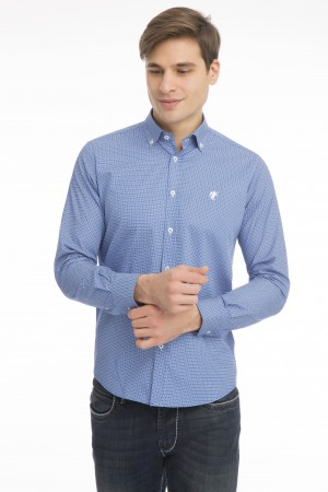 Herren Hemd mit Punktmuster Button Down ROYAL