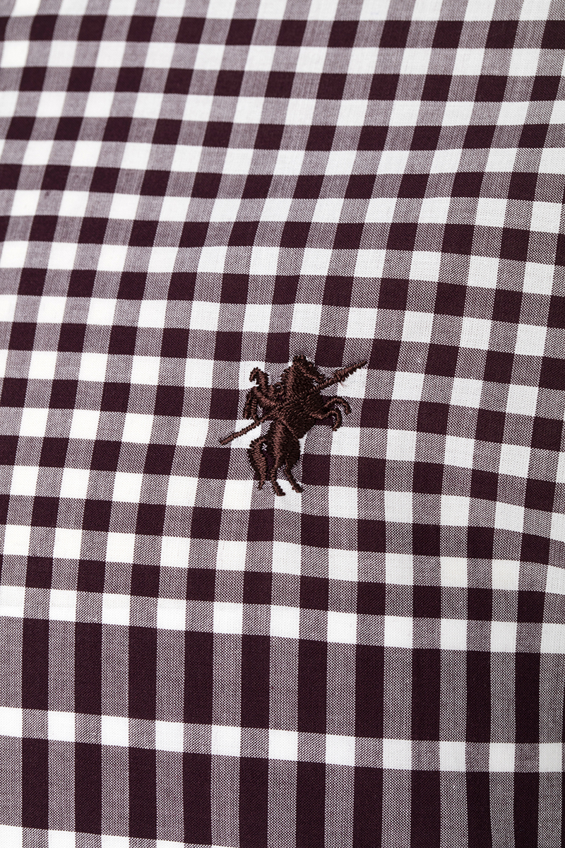 Men's Shirt Button Down Brown Checked