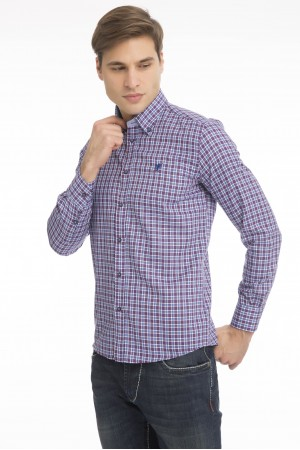Men's Shirt Button Down Pflaume Checked
