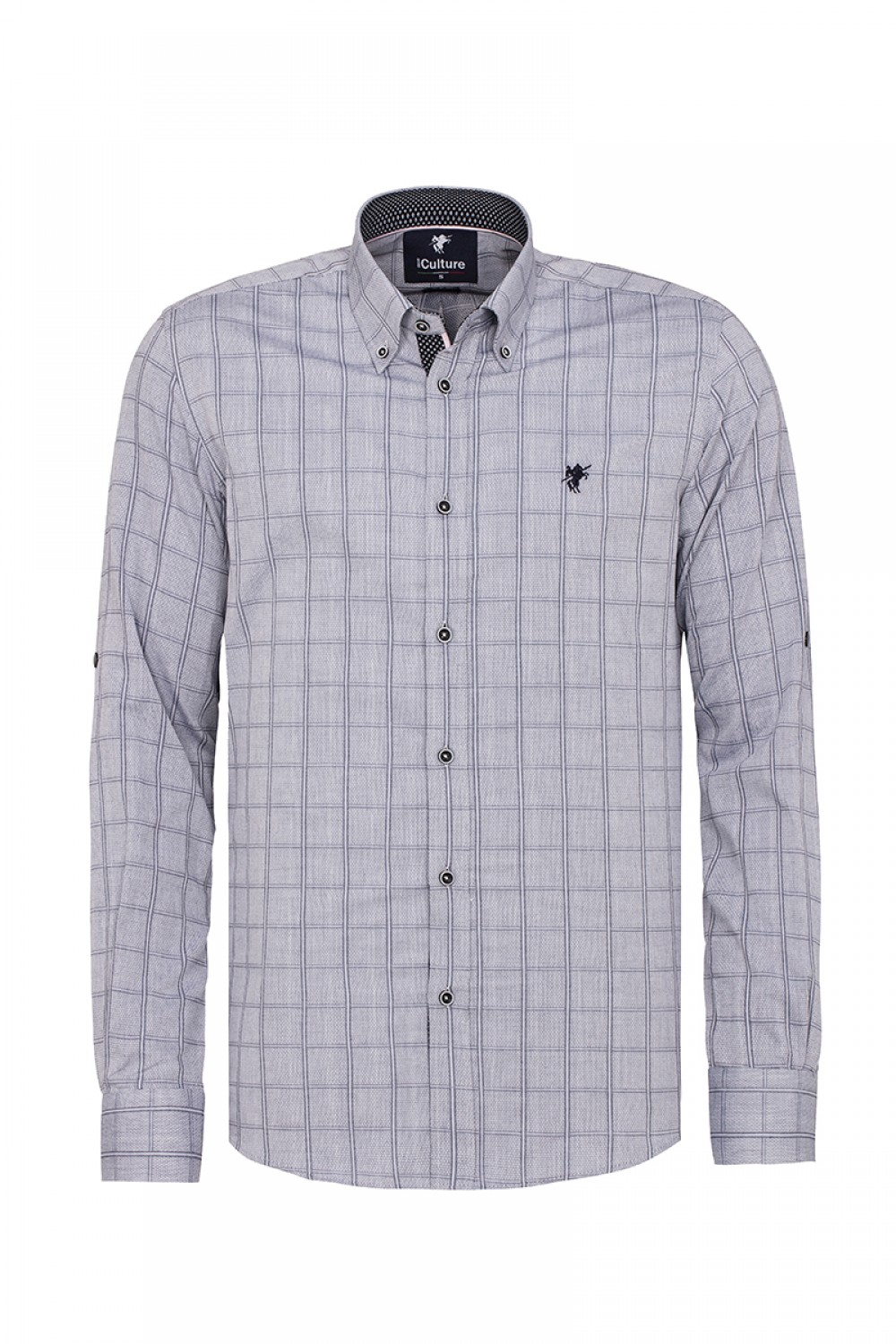 Men's Shirt Button Down Grey Checked