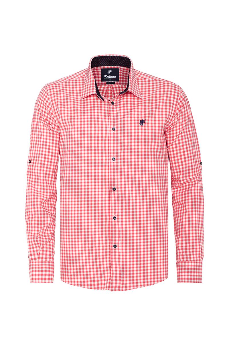 Men's Shirt Kent Collar Coral Checked