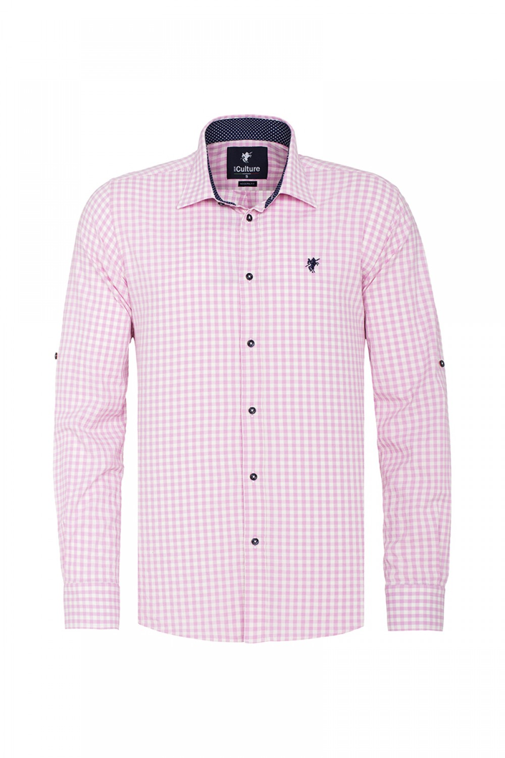 Men's Shirt Kent Collar Pink Checked