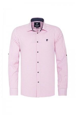 Men's Shirt Kent Collar Pink Checked