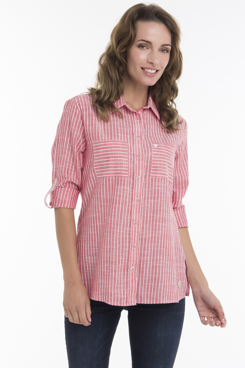 Women's Blouse Red Striped Cotton