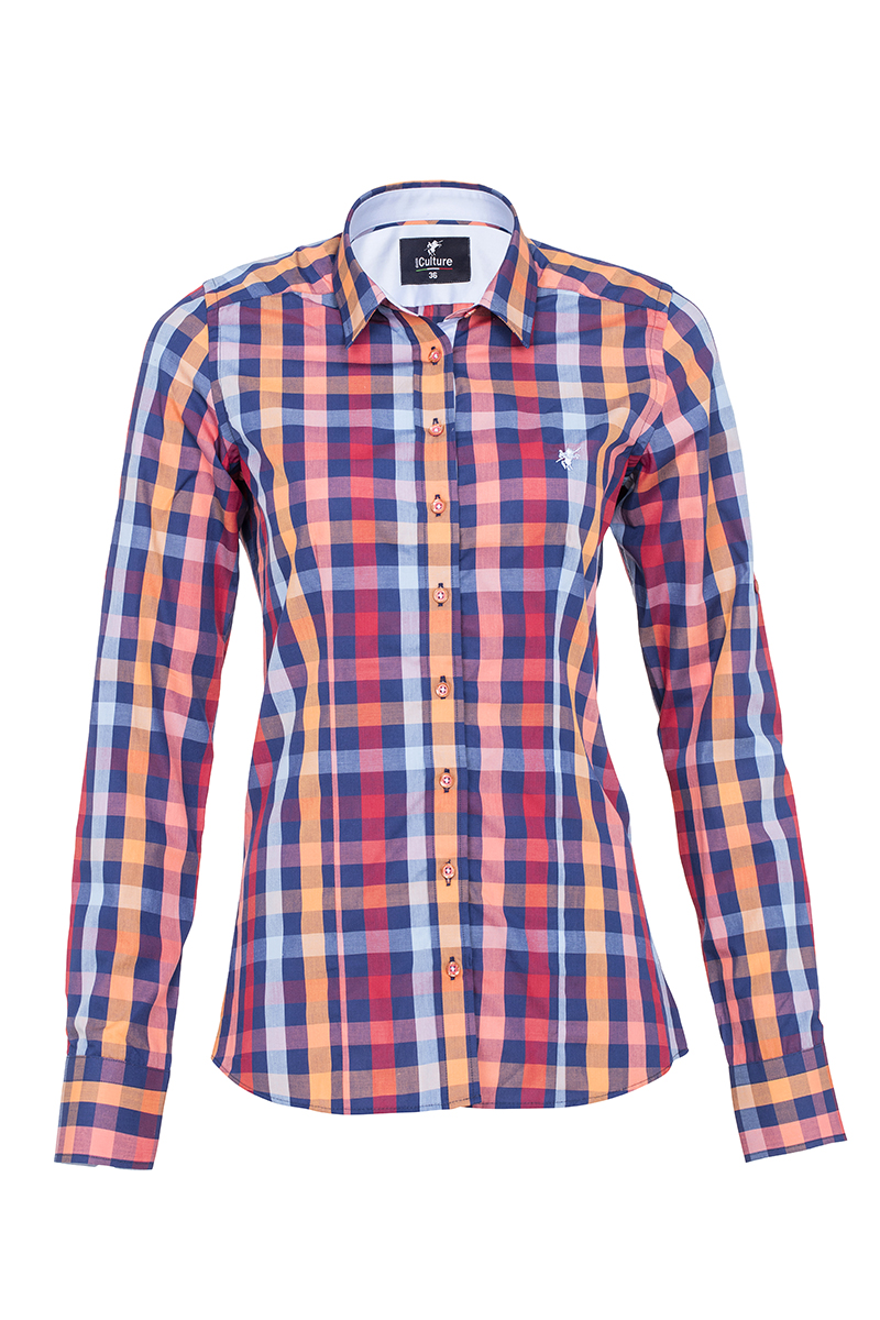 Damen Blusen Hemden ROT Kariert Baumwolle